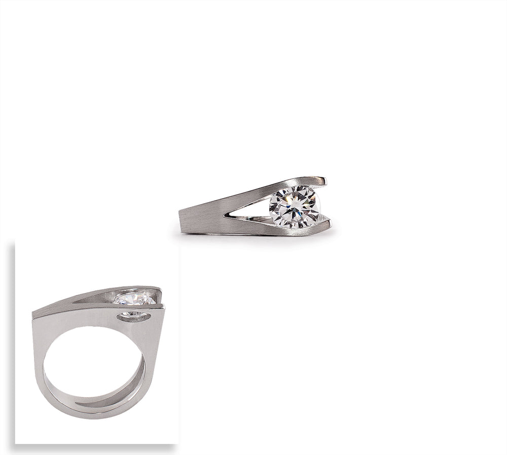 RG095W B.Tiff Wishbone 2 ct Stainless Steel Solitaire Ring