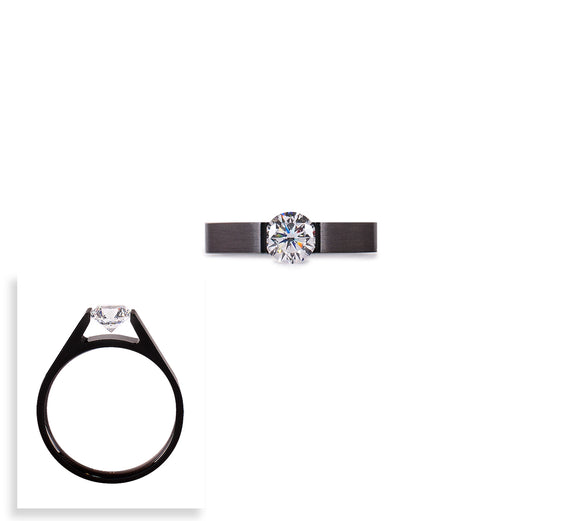RG096B B.Tiff .75 ct Black Anodized Stainless Steel Round Solitaire Engagement Ring