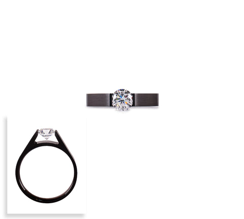 RG096B B.Tiff Round Solitaire Black Anodized Stainless Steel Ring
