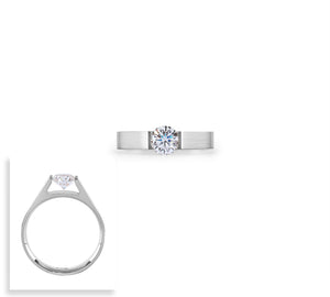 RG096G B.Tiff .75 ct Gold Plated Stainless Steel Round Solitaire Engagement Ring
