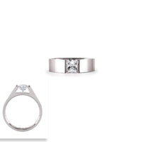 RG097W B.Tiff 1 ct Stainless Steel Princess Cut Solitaire Ring