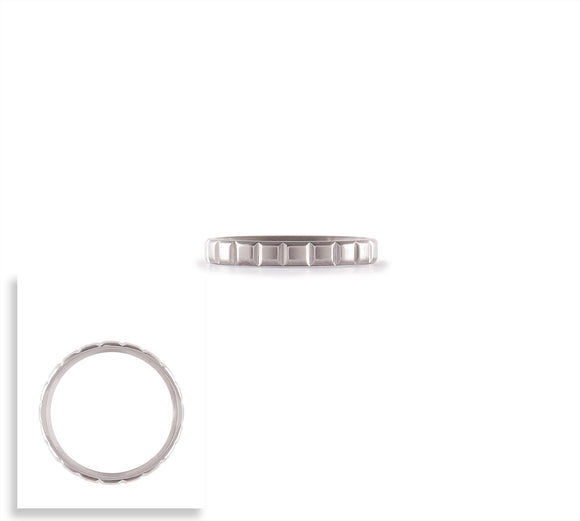 RG102W B.Tiff Simplicity Box Cut Stainless Steel Stacking Polish Ring