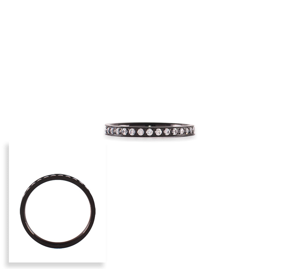 RG111B B.Tiff Stacking .01 ct Black Anodized Stainless Steel Eternity Ring