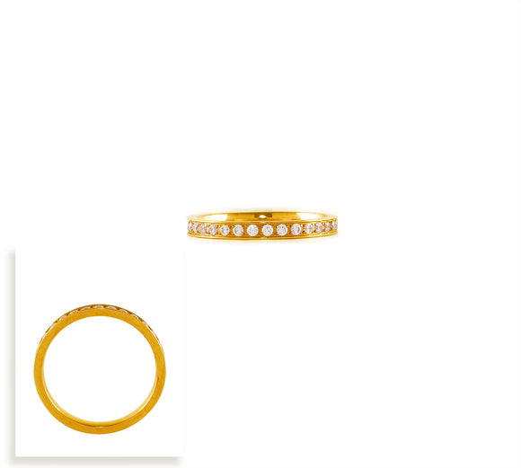 RG111G B.Tiff Stacking .01 ct Gold Plated Stainless Steel Eternity Ring