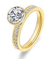 RG112G B.Tiff 2 ct Gold Plated Stainless Steel Eternity Classic Solitaire Pave Engagement Ring
