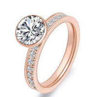 RG112RG B.Tiff 2 ct Rose Gold Plated Stainless Steel Eternity Classic Solitaire Pave Engagement Ring