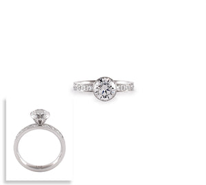 RG112W B.Tiff 2 ct Stainless Steel Eternity Classic Solitaire Pave Engagement Ring