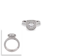RG128W B.Tiff Aŭreolo II 1 ct Stainless Steel Cushion Cut Halo Engagement Ring