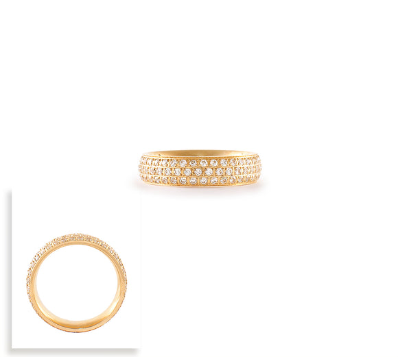 RG130G B.Tiff Three-Row Gold Plated Stainless Steel Eternity Ring