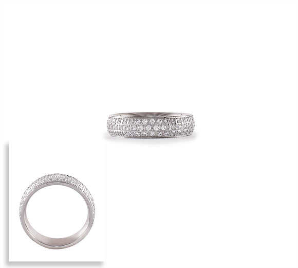 RG130W B.Tiff Three-Row Pave Stainless Steel Eternity Ring