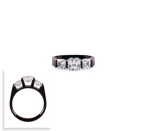 RG203B B.Tiff 3-Stone Cushion Cut Black Anodized Stainless Steel Engagement Ring