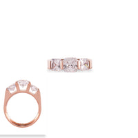RG203RG B.Tiff 3-Stone Cushion Cut Rose Gold Plated Stainless Steel Engagement Ring