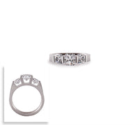 RG203W B.Tiff 3-Stone Cushion Cut Stainless Steel Engagement Ring