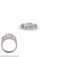RG206W B.Tiff 2 ct Stainless Steel Cushion Cut with Baguettes Engagement Ring