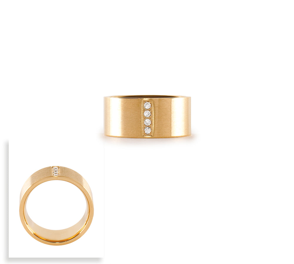 RG223G B.Tiff 4-Stone Wide Gold Plated Stainless Steel Ring