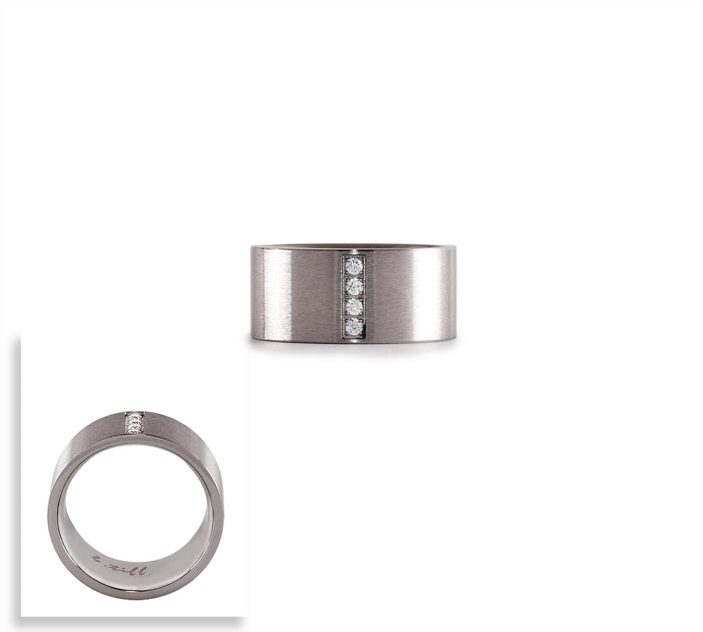 RG223W B.Tiff 4-Stone Wide Stainless Steel Ring
