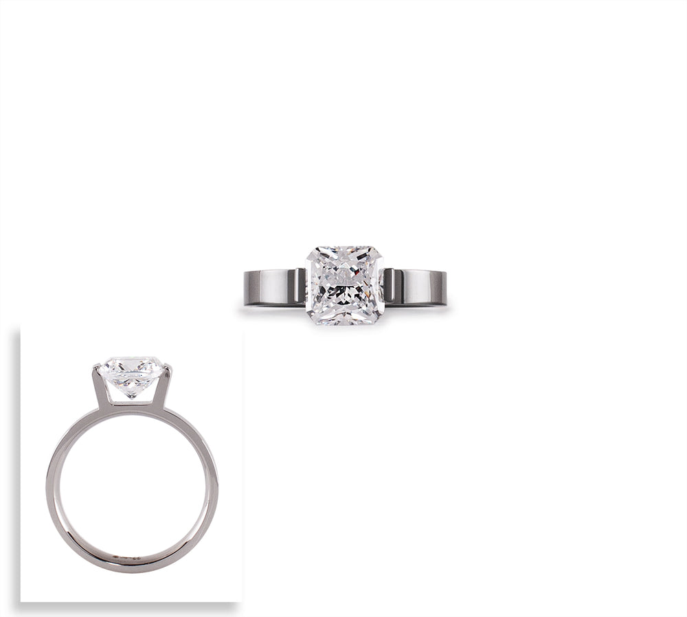 RG228W B.Tiff 2 ct Cushion Cut Stainless Steel Engagement Ring