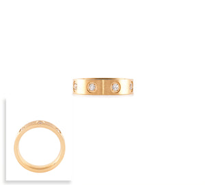 RG808G B.Tiff 8-Stone Bold Gold Plated Stainless Steel Ring