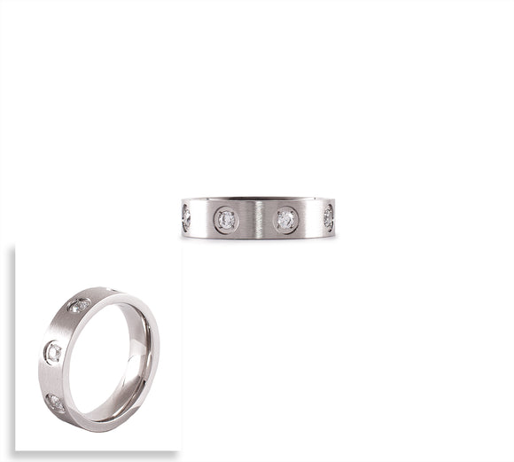 RG808W B.Tiff 8-Stone Bold Stainless Steel Ring