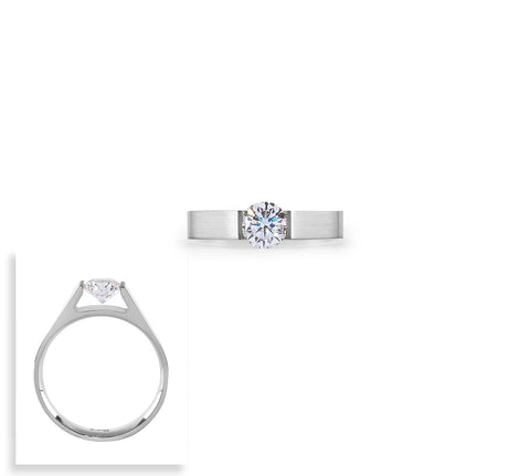RG096W B.Tiff Round Solitaire Stainless Steel Ring