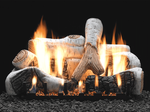 Empire Birch Ceramic Fiber Log Set with Burner