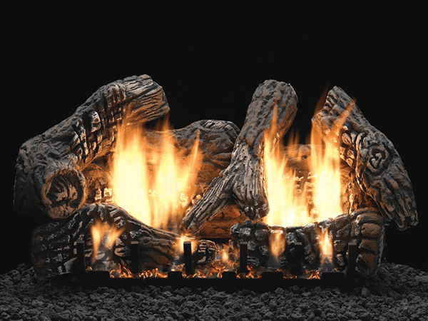 Empire Super Charred Oak Ceramic Fiber Log Set with Burner