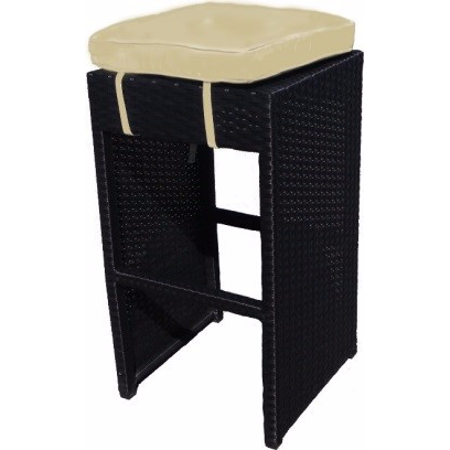 BayPointe Outdoors Wicker Backless Bar Stool with Cushion