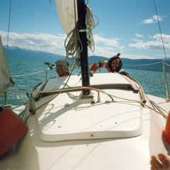 Alex and Magu Appella, Our first binding studio was on a boat in Alaska. 1998.
