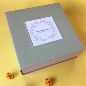 Custom Baby Keepsake Box · My First Year Memory Box · Baby Shower Memento Storage Box - Transient Books