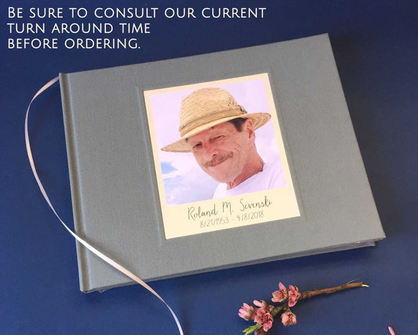 Custom Memorial Service Guest Book · Celebration of Life, Funeral Guest Book · In Loving Memory - Transient Books
