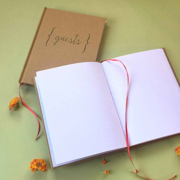 FREE SHIPPING · Kraft Paper Guest Book · Natural, Distinct, Classic, Understated Guest Book - Transient Books