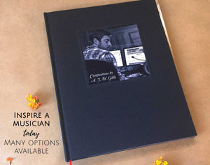 FREE SHIPPING Custom Music Journal · Gift for Musician · Blank Sheet Music Book, Staff Paper
