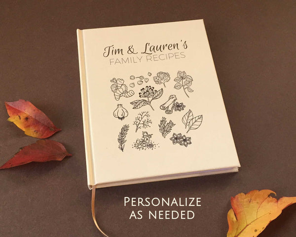FREE SHIPPING Custom Recipe Book · Kitchen Journal · Personalized Cookbook · Family Recipe Notebook - Transient Books