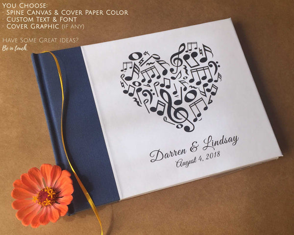 CUSTOM Musical Wedding Guest Book · Guest Book for Musicians · Blank Sheet Music Guest Book - Transient Books