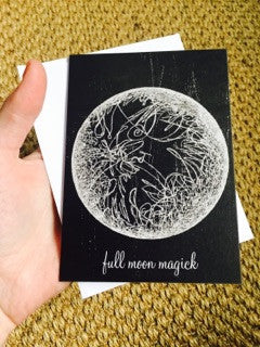 Full Moon Art Card, Blank Note Card