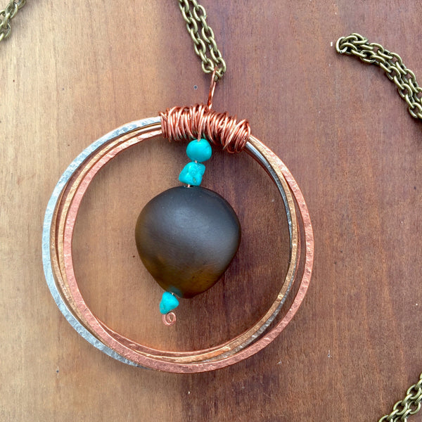 Mixed Metals & Turquoise Seed Necklace