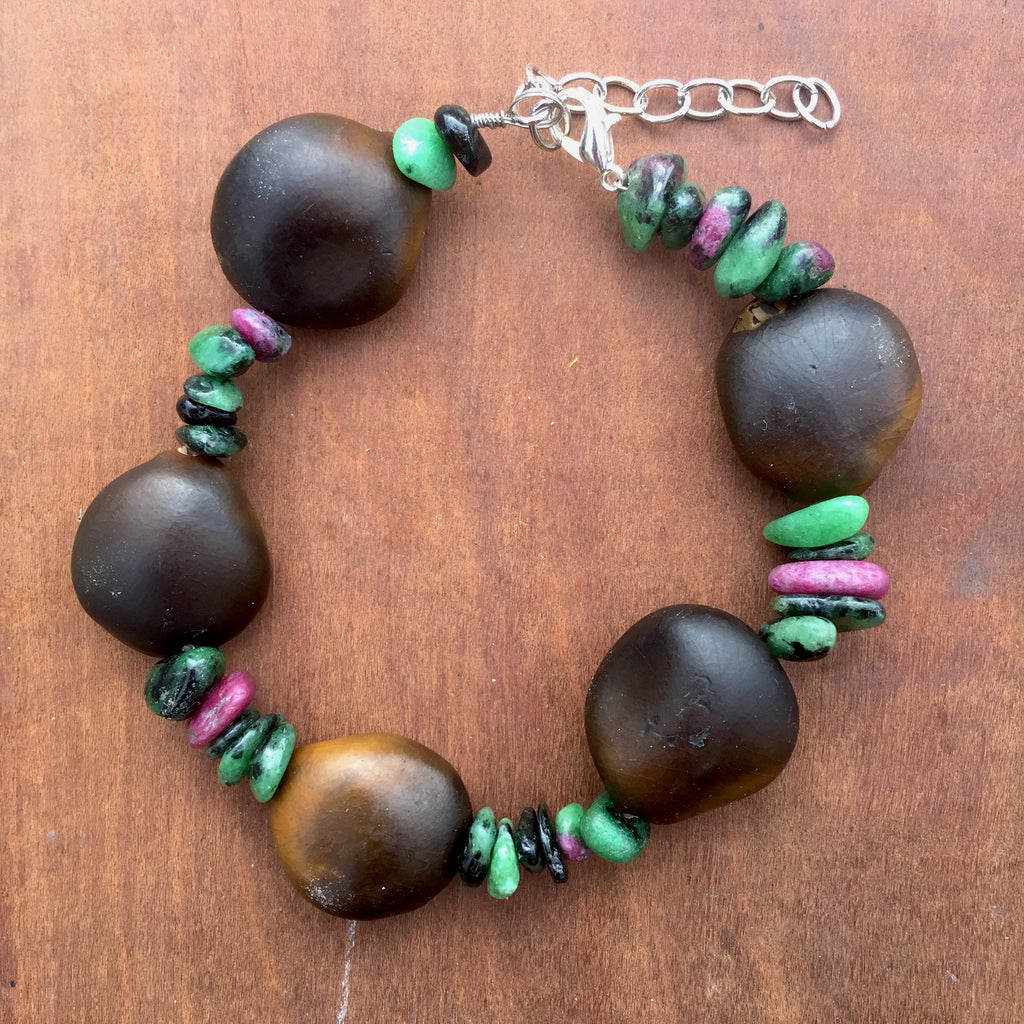 Adjustable Zoisite Seed Bracelet