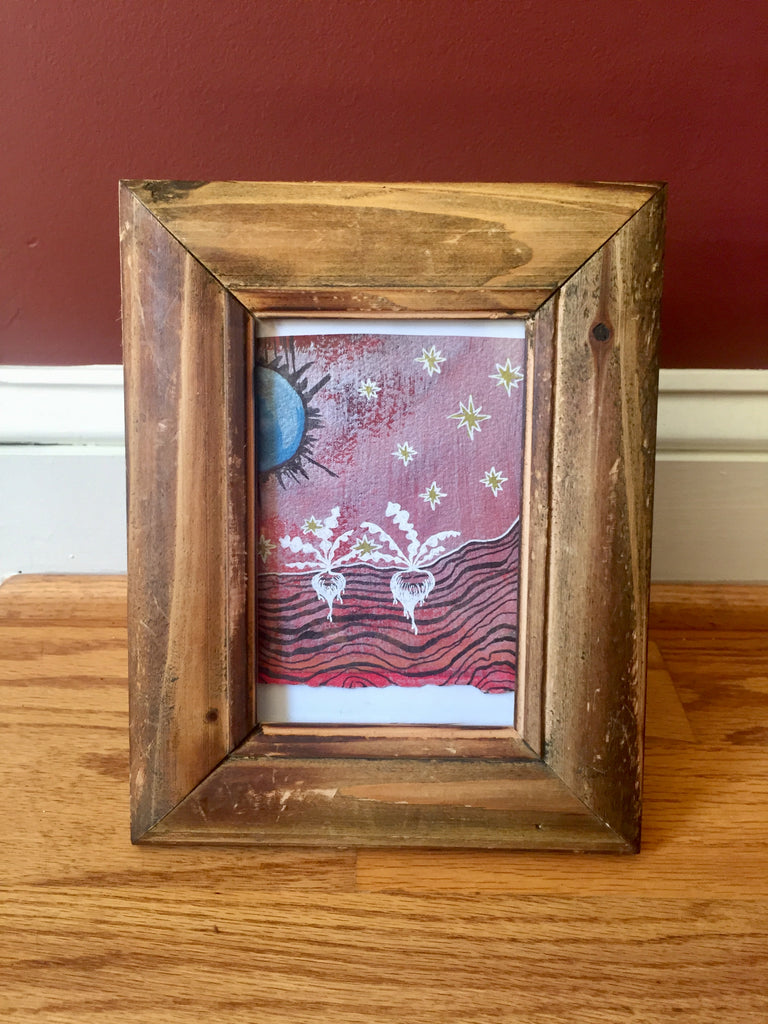Celestial Radishes, Framed Original Painting/Drawing