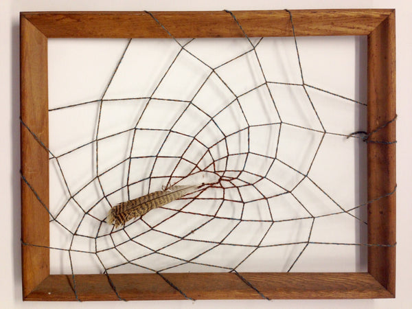 Framed Feather Web, Mixed Media Art