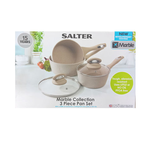 Salter Marble Collection 3 Piece Pan Set Sand