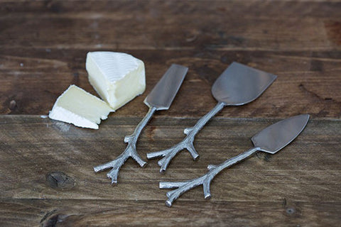 Handmade Set of 3 Branch Handle Cheese Knives