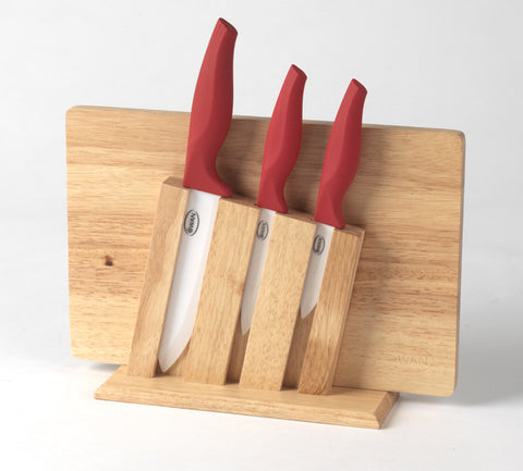3 Piece Ceramic Knife Block & Chopping Board