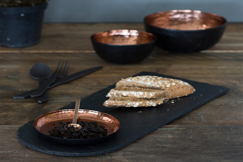 A Serving Platter In Copper And Slate