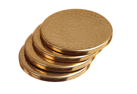 Set of 4 Hand Beaten Gold Coasters