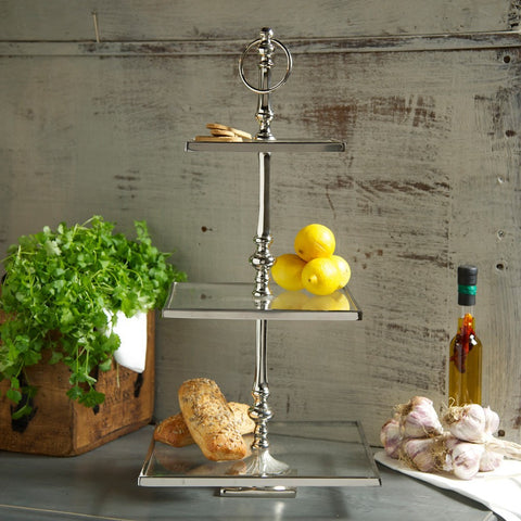 Three tier stainless steel and glass cake stand