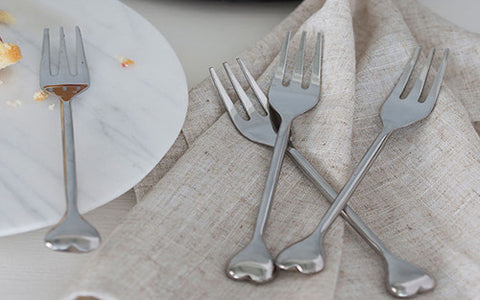 Set Of 4 Heart Pastry Forks