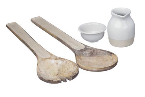 Mango wood Salad Serving Set