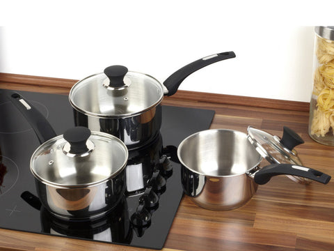Salter Elegance 3 Piece Stainless Steel Pan Set