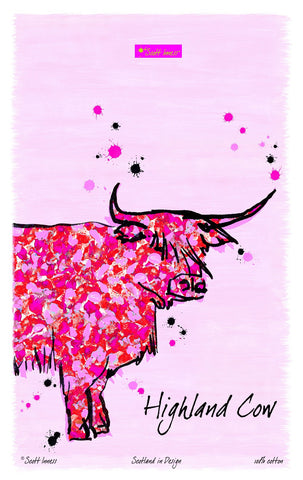 Kitchen Tea Towel Highland Cow
