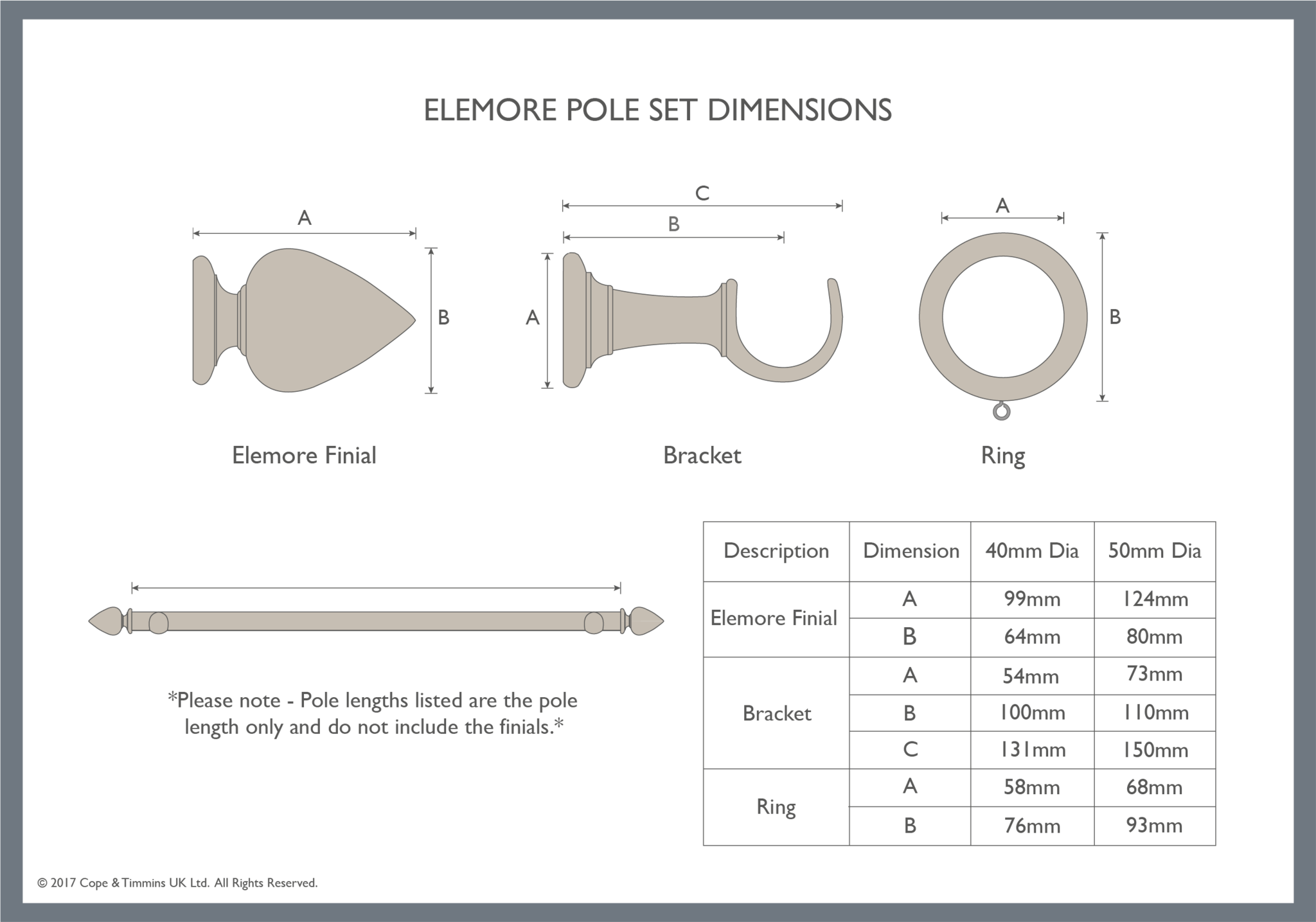 Elemore curtain pole component dimensions